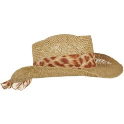 Mad Hatter Womens Leopard Print Scarf Straw Hat