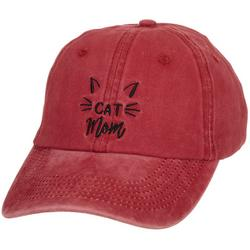 Womens Washed Cat Mom Cap