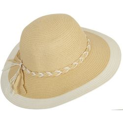 Mad Hatter Womens Braided Band Floppy Hat