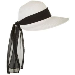 Womens Sheer Scarf Trim Sun Hat