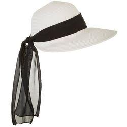 Womens Sheer Scarf Trim Sun Hat