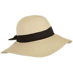 Womens Natural Bow Accent Floppy Hat