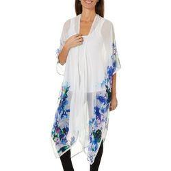Cejon Accessories Womens Watercolor Floral Kimono
