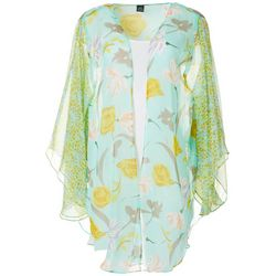 Cejon Accessories Womens Whismical Blooms Print Kimono