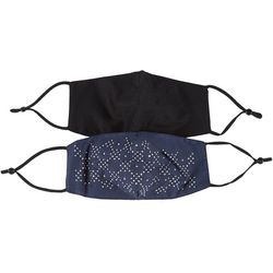 Womens Bedazzled & Solid Adjustable 2-pc. Face Covering