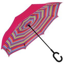 ShedRain UnbelievaBrella Polka Dot & Stripe Reverse Umbrella