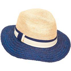 Womens Colorblock Straw Sun Hat