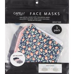 Capelli Womens 3-pk. Floral Face Masks