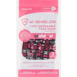 al-Shields Solid 3-pc. Pink Ribbon Disposable Face Masks