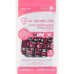 al-Shields Solid 3-pc. Pink Ribbon Disposable Face Masks