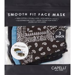 Capelli Womens 3-pk. Bandana Print & Solid Face