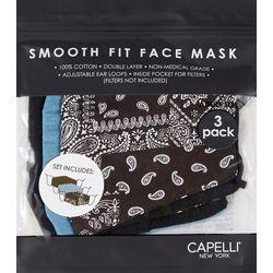 Womens 3-pk. Bandana Print &  Solid Face Mask Set