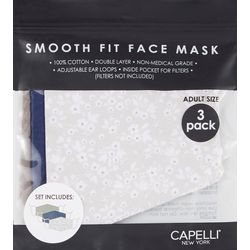 Capelli Womens 3-pk.  Floral & Solid Face Mask Set