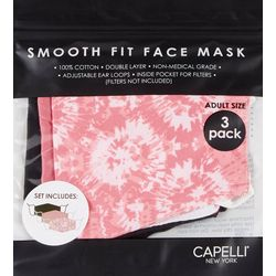 Capelli Womens 3-pk.Tie Dye &  Solid Face Mask Set
