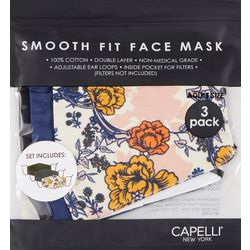 Capelli Womens 3-pk.Tir Dye &  Solid Face Mask Set