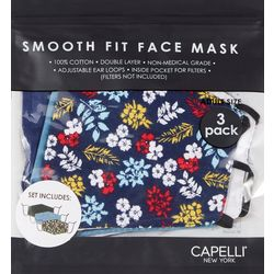 Womens 3-pk. Bright Floral & Solid Face Mask Set