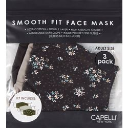 Capelli Womens 3-pk. Ditsy Floral & Solid Face Mask Set