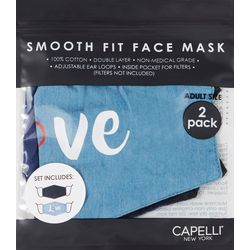 Capelli Womens 2-pk. Love Chambray Face Masks