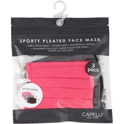 Capelli Womens 3-pk. Solid Sport Pleated Face Mask