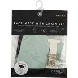 Womens 2-pk. Solid Face Mask And Chain Set