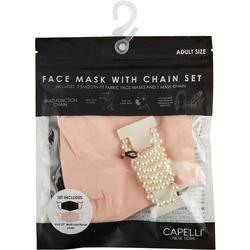 Womens 2-pk. Solid Face Mask And Pearl Chain Set