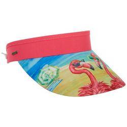 Womens Beachy Flamingo Coil Back Visor