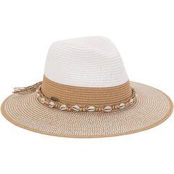 Caribbean Joe Womens Puka Shell Band Panama Hat