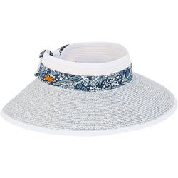 Caribbean Joe Womens Paisley Trim Packable Sun Hat