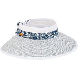 Womens Paisley Trim Packable Sun Hat