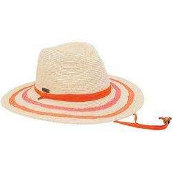 Caribbean Joe Womens Striped Brim Panama Hat