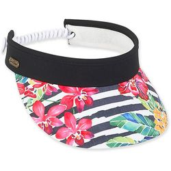 Sun N' Sand Womens Stripes & Floral Coil Back Visor