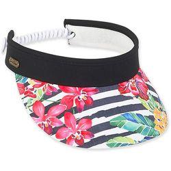 Womens Stripes & Floral Coil Back Visor