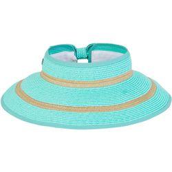 Sun N' Sand Womens Striped Paper Braid Sun Visor