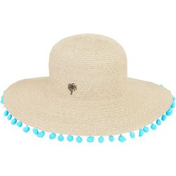 Sun N' Sand Womens Palm Tree Pom Pom Paper Braid Sun Hat