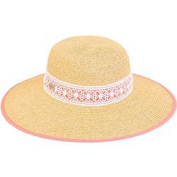 Sun N' Sand Womens Paper Braid Medallion Strap Sun Hat