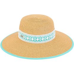 Sun N' Sand Womens Paper Braid Medallion Strap Sun Hat