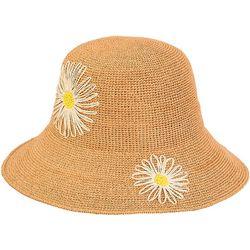 Sun N' Sand Womens Paper Braid Floral Crochet Sun Hat
