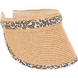 Womens Leopard Trim Paper Braid Sun Visor
