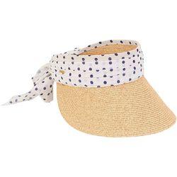 Sun N' Sand Womens Dotted Tie Paper Braid Sun Visor