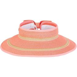 Womens Striped Paper Braid Sun Visor