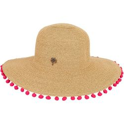Caribbean Joe Womens Pom Pom Trimmed Sun Hat