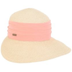 Sun N' Sand Womens Coral Band Paper Braid Trim Sun Visor