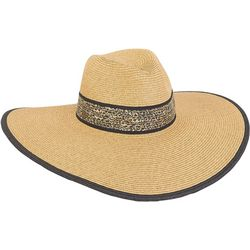 Sun N' Sand Womens Cheetah Print Floppy Hat