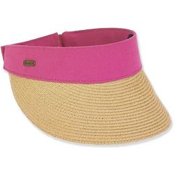 Womens Color Bands Straw Visor