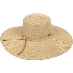 Sun N' Sand Womens Solid Straw Floppy Hat