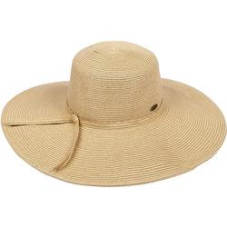 Womens Solid Straw Floppy Hat