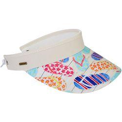 Sun N' Sand Womens Flip Flop Print Coil Back Visor