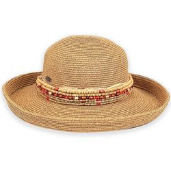 Sun N' Sand Womens Multi-Row Bead Trim Sun Hat