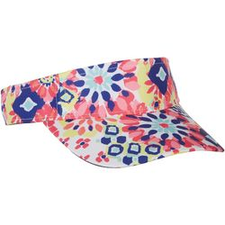 Lillie Green Womens Muted Geo Print Visor
