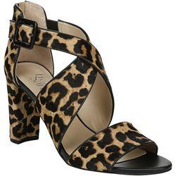 Franco Sarto Womens Hazelle 2 Leopard Heeled Sandals
